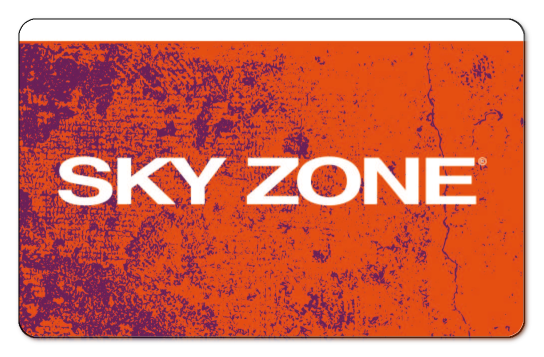 Large Sky Zone logo in white over a distressed orange background.