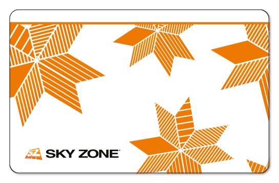Solid white background with abstract striped orange stars, and a small Sky Zone logo in the bottom left corner.